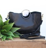 Punchy's Go For the Gold Black Leather Handbag