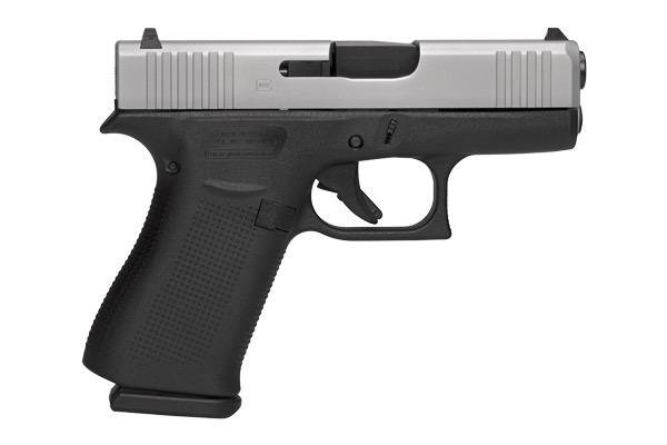 Glock 43X, 9mm, fixed sights, 10 rd, silver slide, 2 mags