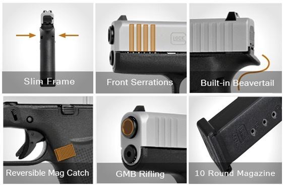 Handgun New Glock 48, 9mm, fixed sights, 10 rd, silver slide, 2 mags