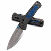 Benchmade 535 Bugout, Damasteel Drop Point Blade, with Ghost Carbon Fiber Handle with Blue C-Tek Inlays, Gold Class