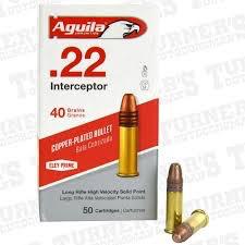 Ammo, Aguila, 22LR Interceptor, FMJ, 40gr 50rd, Copper Coated Lead