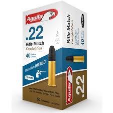 Ammo, Aguila, 22LR Rifle Match, 40 gr, 50 rd