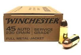 Ammo, Winchester Service Grade 45 Auto 230 gr FMJ Ball M1911