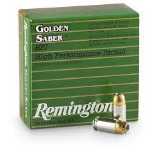 Ammo, Remington Golden Saber 45 ACP Auto Ammo 185 Grain Brass JHP