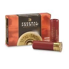 "Ammo, Federal Buckshot, 12 ga, 2 3/4"", Vital-Shok w/ Flite Control, 9 pellets-00Buck"