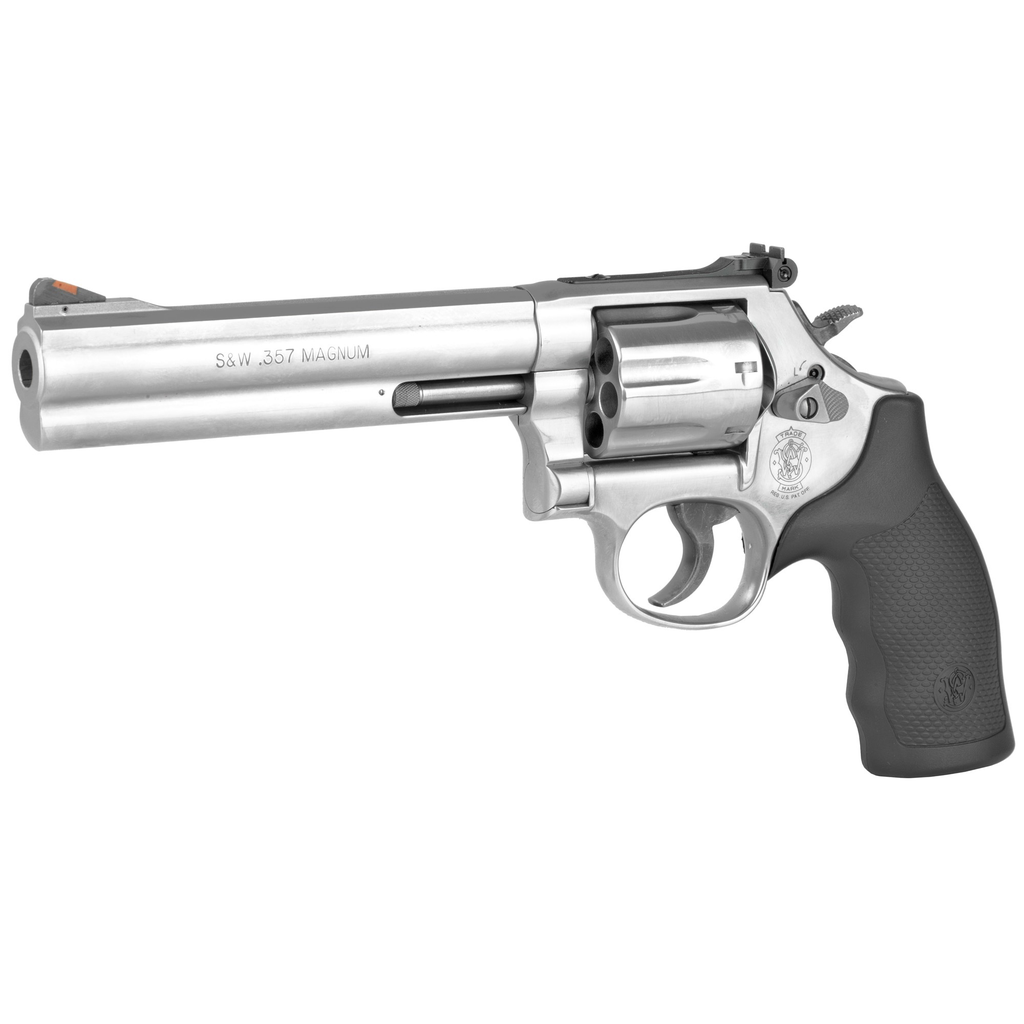 """Smith & Wesson, 686 Plus, Medium, 357 Mag, 6"""" Barrel, Steel Frame, Stainless Finish, Rubber Grips, Adjustable Sights, 7Rd, Right Hand (special order)"""