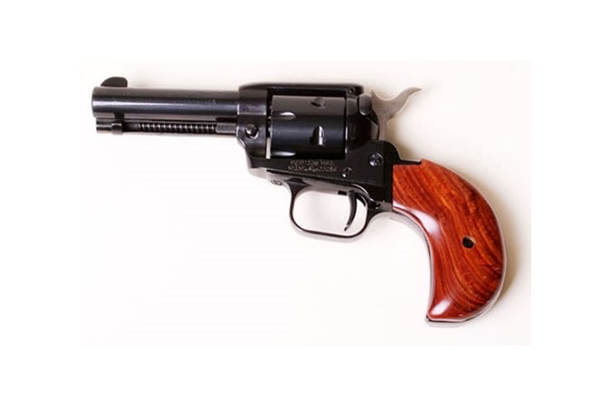 "Heritage Rough Rider, Single Action Army, 22LR/22WMR, 3.75"" Barrel, Alloy Frame, Blue Finish, Wood Grips, Fixed Sights, 6Rd, Birds Head Right Hand"