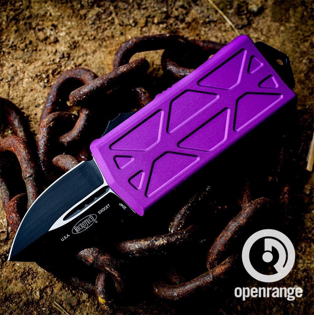 Microtech EXOCET, black standard blade, violet