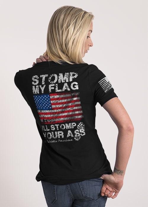 Shirt Short STOMP MY FLAG Tee, Dark Grey, Woman's Medium