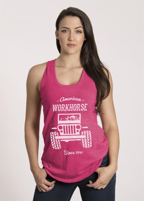 Shirt Short American Workhorse, Racerback Tank, Fuchsia Medium