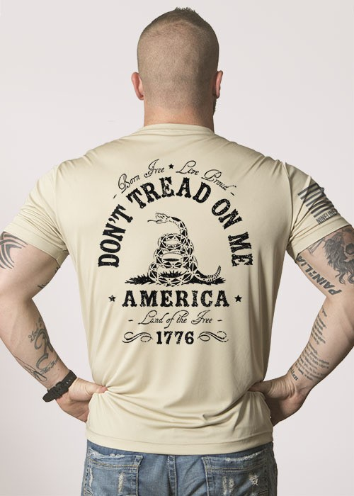 Shirt Short DON'T TREAD Workout Tee, Sand, XL