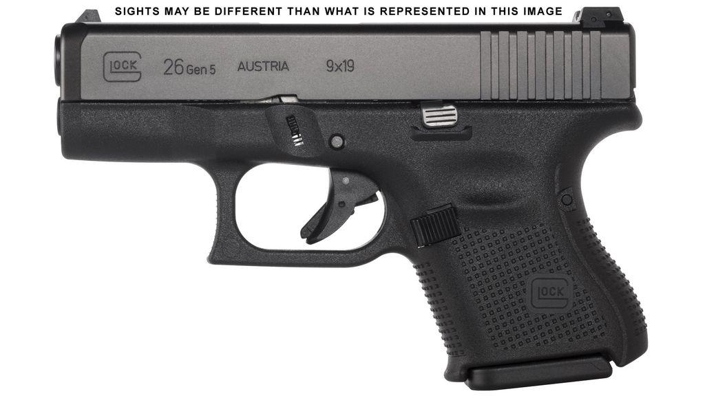 Glock 26 Gen 5, 9mm, subcompact, 10rd, Black, Ameriglo Night Sights