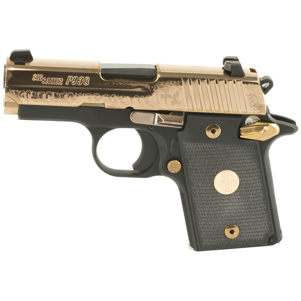 Rotational Sig Sauer P938 Rose Gold, Black with gold engraving, NS, 9mm, 6 rd,