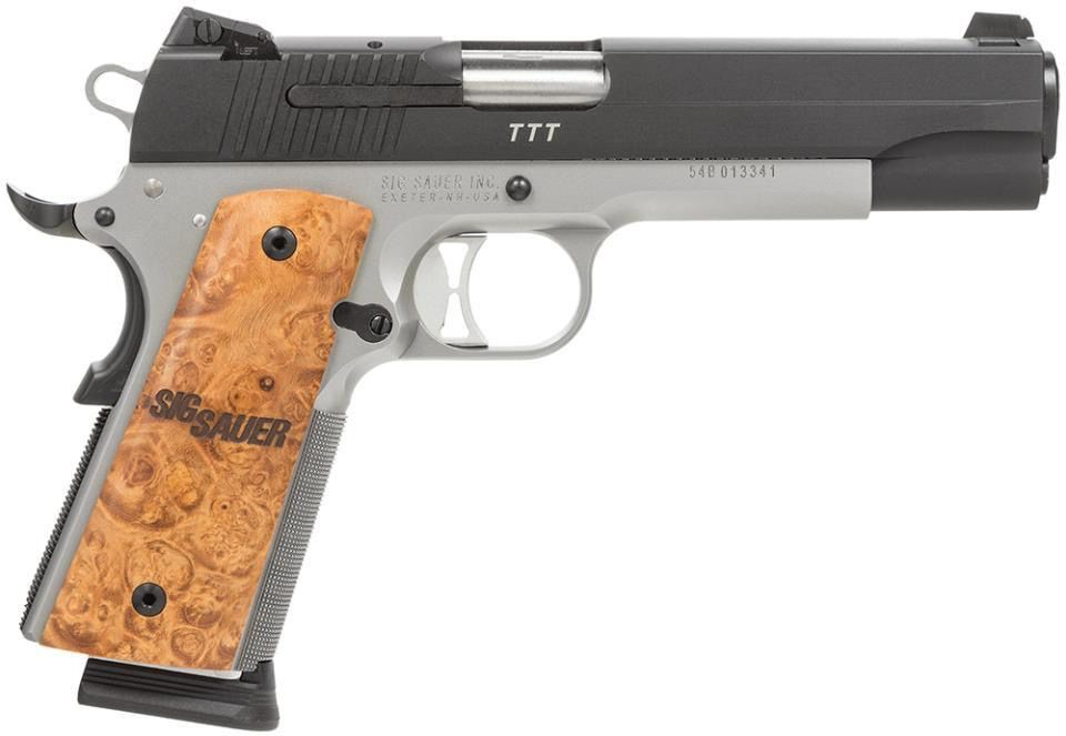 "Sig Sauer 1911, .45, 5"", two tone, dehorned, match barrel, Night sights, wood grips, 8rd."