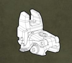Optics MBUS (Magpul Back-Up Sight) GEN 2, Front Sight, folding back-up sight