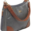 Bulldog Hobo Conceal Carry Purse,  Gray with Tan Trim, includes holster