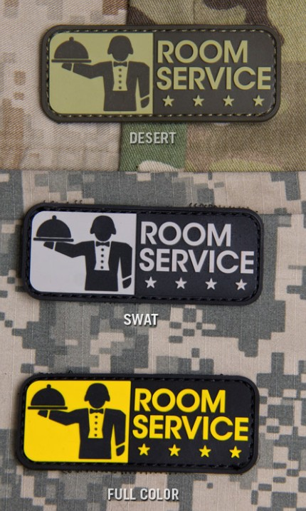 Patches Mil-Spec Monkey Room Service, PVC, Desert