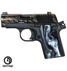 Rotational Sig Sauer P238 Polished & Engraved Slide, Black Pearlite Grips, 380, 6 rd,