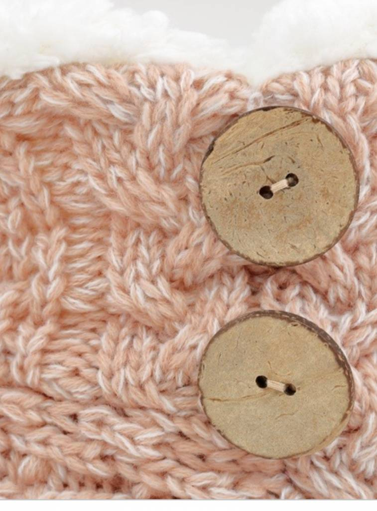 COCONUT BUTTON HAND KNITTED SLIPPERS