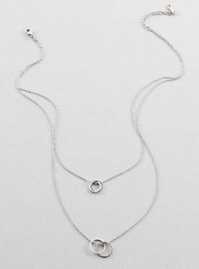 INTERTWINED CIRCLES DOUBLE STRAND NECKLACE