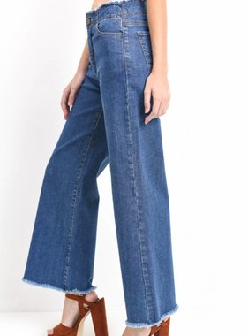 WIDE LEG FRAY DENIM