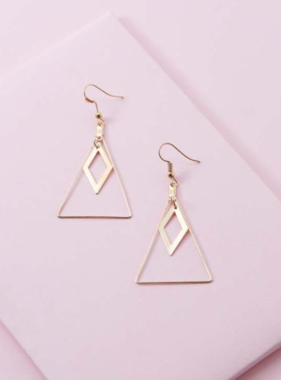 TRAINGLE & DIAMOND DROP EARRINGS