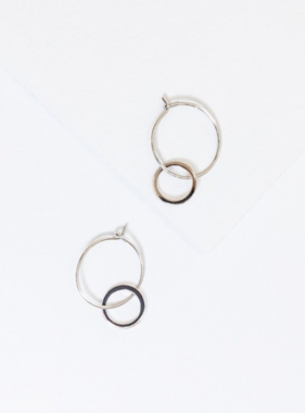 STERLING MINI DOUBLE HOOP EARRINGS