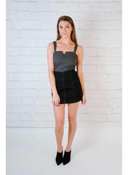 Skirt Aline Black Denim Skirt