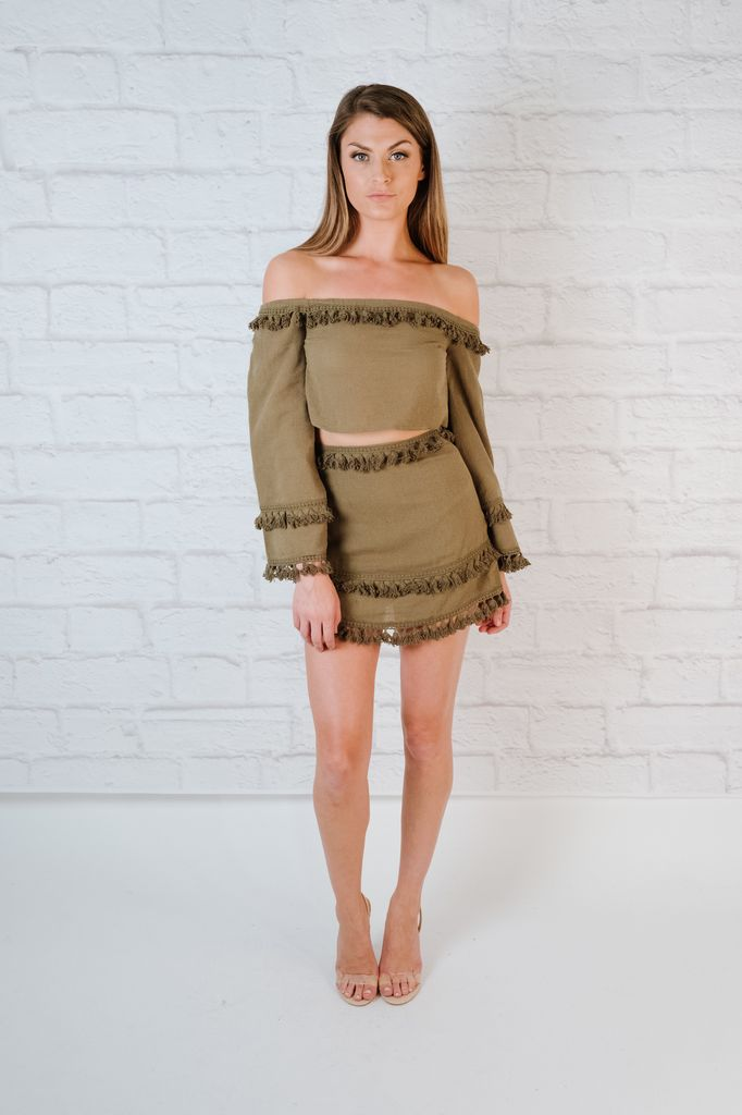 Skirt Olive fringed mini
