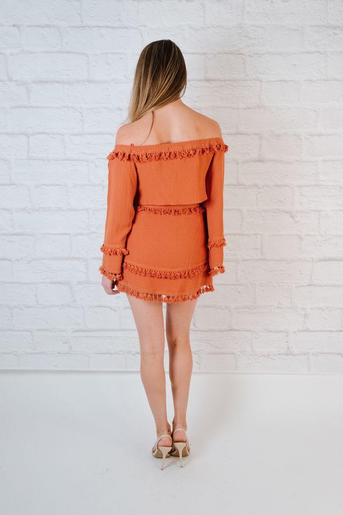 Skirt Brick fringed mini