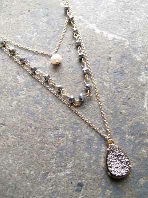 Accessories 3 layer pearl and stone necklace