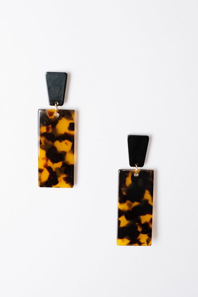 Trend Rectangle Tortoise Drop Earrings