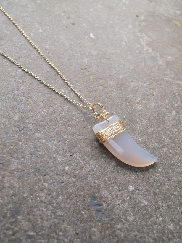 Long Glass shark tooth necklace