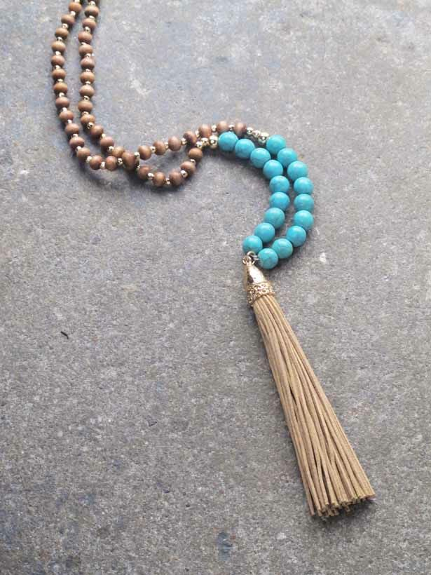 Trend Long turquoise bead tassel necklace