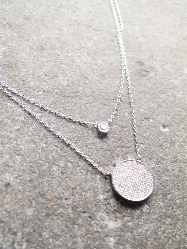 Sterling Sterling two layer rhinestone disc necklace