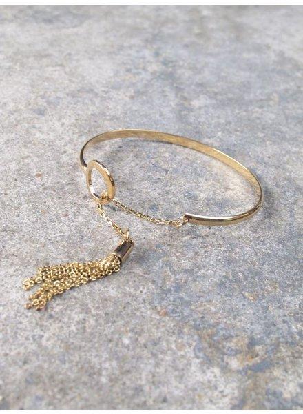 Gold Dainty gold tassel bangle