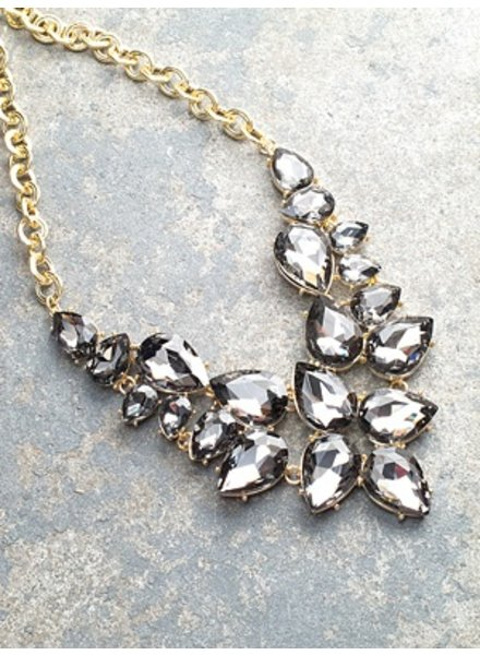 Dressy Grey teardrop stone statement