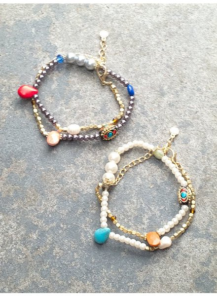 Stone Pearly evil eye wrap