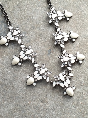 Trend White enamel statement necklace