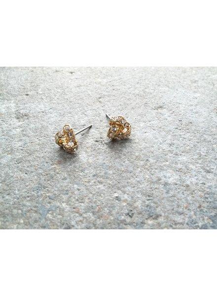 Stud Sparkling gold knots