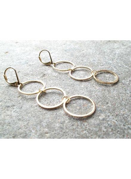 Gold Triple hoop dangle