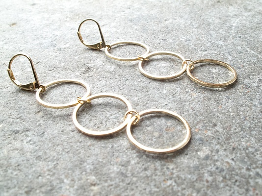 Gold Triple hoop dangle