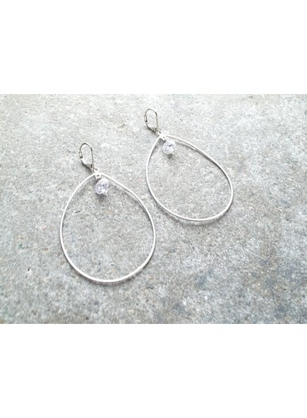 Silver Crystal drop hoop