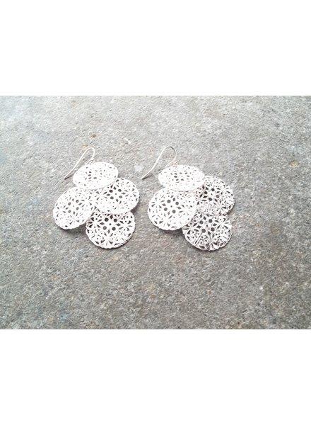 Silver Chandelier disk earrings