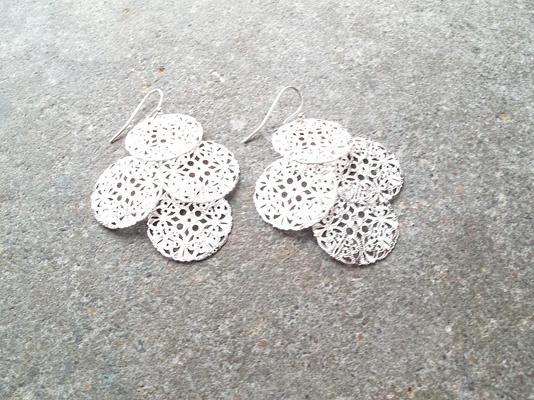 Silver Chandelier disk earrings