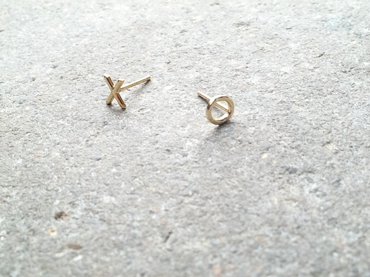 Sterling Gold plated XO studs