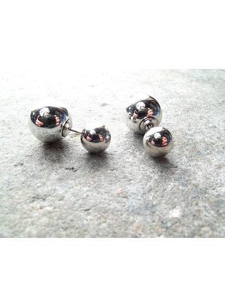Stud Double silver ball