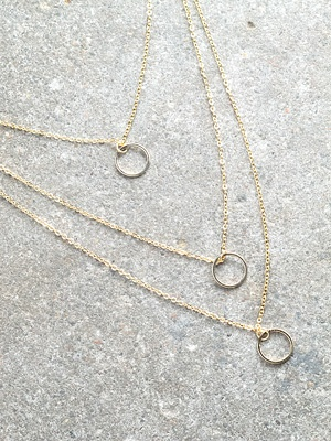 Silver Gold triple ring necklace