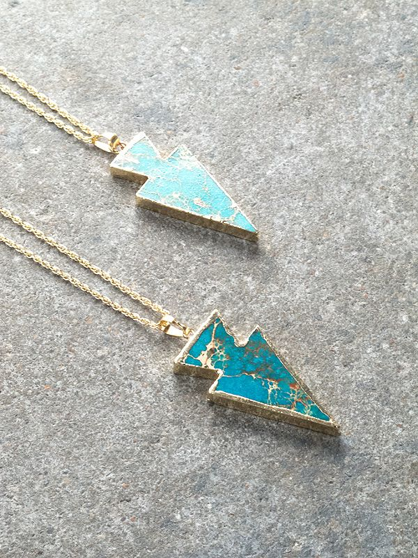 Gold Turquoise and gold arrow necklace