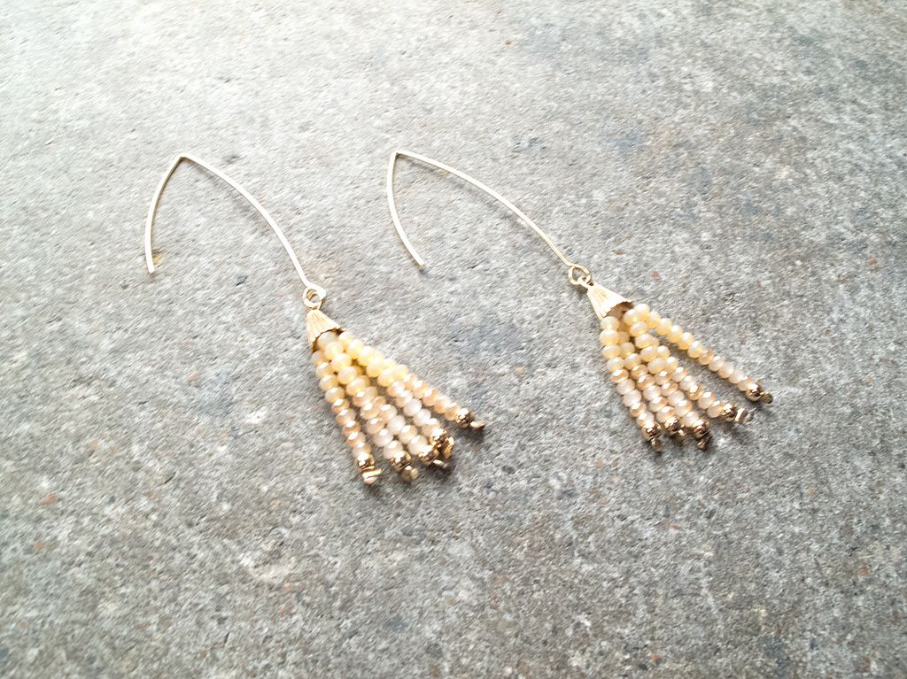 Stone Dangle bead gold hook earrings (Peach & Blue)